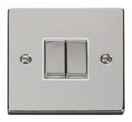 Scolmore Click Deco VPCH412WH 2 Gang 2 Way Ingot 10AX Switch - White