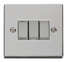 Scolmore Click Deco VPCH413WH 3 Gang 2 Way Ingot 10AX Switch - White