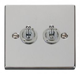 Scolmore Click Deco VPCH422 2 Gang 2 Way 10AX Toggle Switch