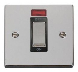 Scolmore Click Deco VPCH501BK 1 Gang 45A Ingot DP Switch With Neon - Black