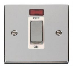 Scolmore Click Deco VPCH501WH 1 Gang 45A Ingot DP Switch With Neon - White