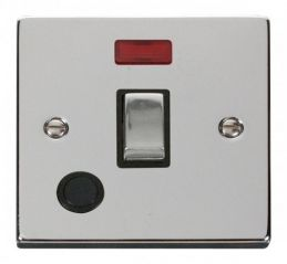 Scolmore Click Deco VPCH523BK 20A 1 Gang DP Ingot Switch With Flex Outlet And Neon - Black