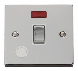 Scolmore Click Deco VPCH523WH 20A 1 Gang DP Ingot Switch With Flex Outlet And Neon - White