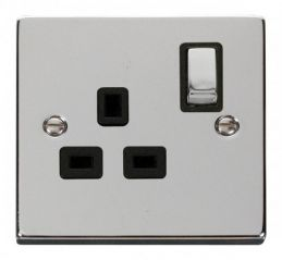 Scolmore Click Deco VPCH535BK 1 Gang 13A DP Ingot Switched Socket Outlet - Black