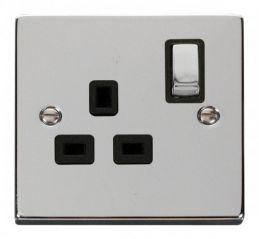 Scolmore Click Deco VPCH535BK 1 Gang 13A DP Ingot Switched Socket Outlet - Black