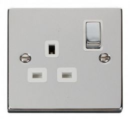 Scolmore Click Deco VPCH535WH 1 Gang 13A DP Ingot Switched Socket Outlet - White