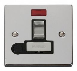 Scolmore Click Deco VPCH552BK 13A Fused Ingot Switched Connection Unit With Flex Outlet & Neon - Black