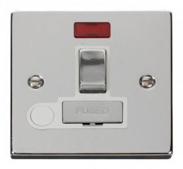 Scolmore Click Deco VPCH552WH 13A Fused Ingot Switched Connection Unit With Flex Outlet & Neon - White