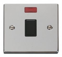 Scolmore Click Deco VPCH623BK 20A 1 Gang DP Switch + Neon - Black