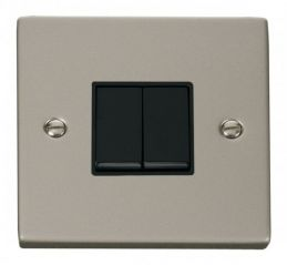 Scolmore Click Deco VPPN012BK 2 Gang 2 Way 10AX Switch - Black