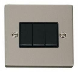 Scolmore Click Deco VPPN013BK 3 Gang 2 Way 10AX Switch - Black