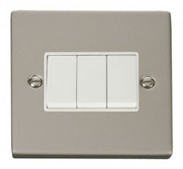 Scolmore Click Deco VPPN013WH 3 Gang 2 Way 10AX Switch - White