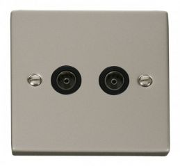 Scolmore Click Deco VPPN066BK Twin Coaxial Socket Outlet - Black