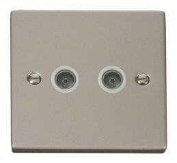 Scolmore Click Deco VPPN066WH Twin Coaxial Socket Outlet - White