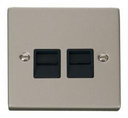 Scolmore Click Deco VPPN121BK Twin Telephone Socket Outlet Master - Black