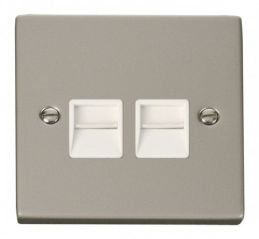 Scolmore Click Deco VPPN121WH Twin Telephone Socket Outlet Master - White