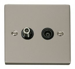Scolmore Click Deco VPPN157BK 1 Gang Satellite & Isolated Coaxial Socket Outlet - Black