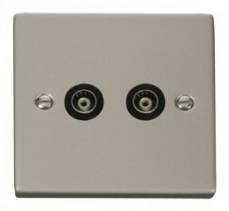 Scolmore Click Deco VPPN159BK Twin Isolated Coaxial Socket Outlet - Black