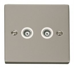 Scolmore Click Deco VPPN159WH Twin Isolated Coaxial Socket Outlet - White