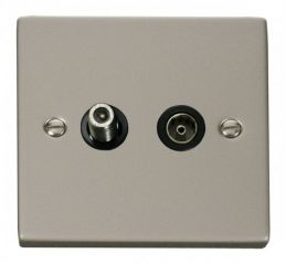 Scolmore Click Deco VPPN170BK 1 Gang Satellite & Coaxial Socket Outlet - Black