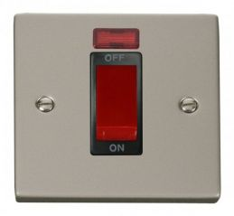 Scolmore Click Deco VPPN201BK 1 Gang 45A DP Switch With Neon - Black