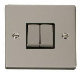 Scolmore Click Deco VPPN412BK 2 Gang 2 Way Ingot 10AX Switch - Black