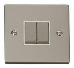 Scolmore Click Deco VPPN412WH 2 Gang 2 Way Ingot 10AX Switch - White