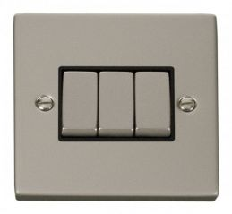 Scolmore Click Deco VPPN413BK 3 Gang 2 Way Ingot 10AX Switch - Black