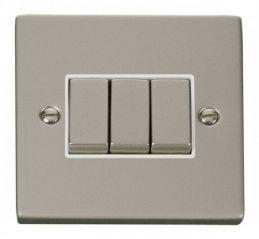 Scolmore Click Deco VPPN413WH 3 Gang 2 Way Ingot 10AX Switch - White