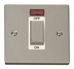Scolmore Click Deco VPPN501WH 1 Gang 45A Ingot DP Switch With Neon - White