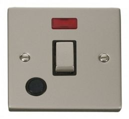 Scolmore Click Deco VPPN523BK 20A 1 Gang DP Ingot Switch With Flex Outlet And Neon - Black