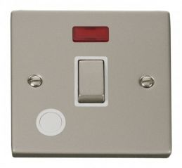 Scolmore Click Deco VPPN523WH 20A 1 Gang DP Ingot Switch With Flex Outlet And Neon - White