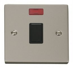 Scolmore Click Deco VPPN623BK 20A 1 Gang DP Switch + Neon - Black