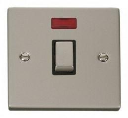 Scolmore Click Deco VPPN723BK 20A 1 Gang DP Ingot Switch + Neon - Black