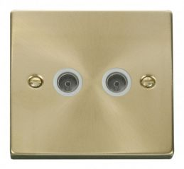Scolmore Click Deco VPSB066WH Twin Coaxial Socket Outlet - White