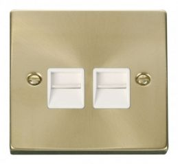 Scolmore Click Deco VPSB121WH Twin Telephone Socket Outlet Master - White