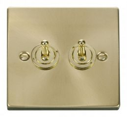 Scolmore Click Deco VPSB422 2 Gang 2 Way 10AX Toggle Switch