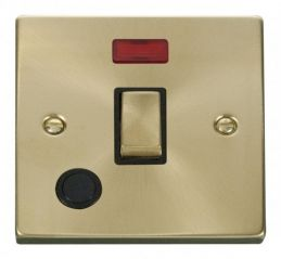 Scolmore Click Deco VPSB523BK 20A 1 Gang DP Ingot Switch With Flex Outlet And Neon - Black