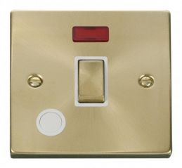 Scolmore Click Deco VPSB523WH 20A 1 Gang DP Ingot Switch With Flex Outlet And Neon - White