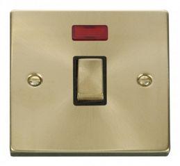 Scolmore Click Deco VPSB723BK 20A 1 Gang DP Ingot Switch + Neon - Black