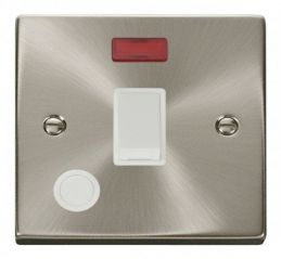 Scolmore Click Deco VPSC023WH 20A 1 Gang DP Switch With Flex Outlet And Neon - White