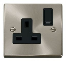 Scolmore Click Deco VPSC035BK 1 Gang 13A DP Switched Socket Outlet - Black
