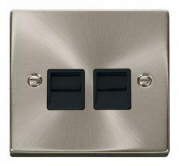 Scolmore Click Deco VPSC121BK Twin Telephone Socket Outlet Master - Black