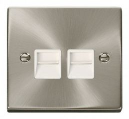 Scolmore Click Deco VPSC121WH Twin Telephone Socket Outlet Master - White