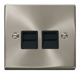Scolmore Click Deco VPSC126BK Twin Telephone Socket Outlet Secondary - Black