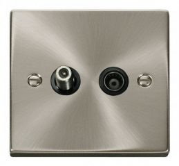 Scolmore Click Deco VPSC157BK 1 Gang Satellite & Isolated Coaxial Socket Outlet - Black