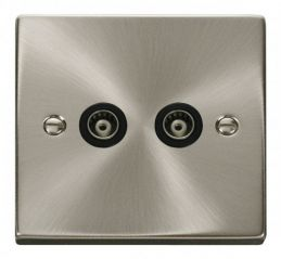 Scolmore Click Deco VPSC159BK Twin Isolated Coaxial Socket Outlet - Black