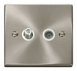 Scolmore Click Deco VPSC170WH 1 Gang Satellite & Coaxial Socket Outlet - White