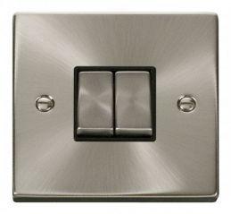Scolmore Click Deco VPSC412BK 2 Gang 2 Way Ingot 10AX Switch - Black