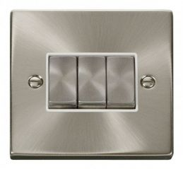Scolmore Click Deco VPSC413WH 3 Gang 2 Way Ingot 10AX Switch - White